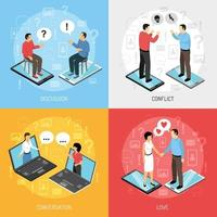 Chatting People Isometric Icons Concept Vector Illustration