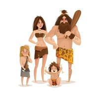 Caveman Family Design Concept Vector Illustration