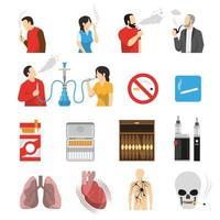 Productos de fumar riesgos iconos conjunto ilustración vectorial vector