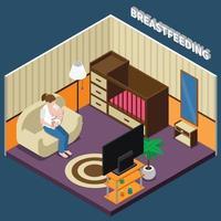 Breastfeeding Isometric Composition Vector Illustration