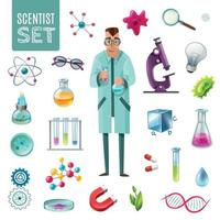 Science Icons Cartoon Set Vector Illustration