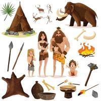 Los iconos decorativos de los hombres de las cavernas establecen ilustración vectorial vector