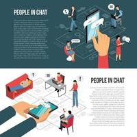 People Chatting Online Isometric Banners Vector Illustration