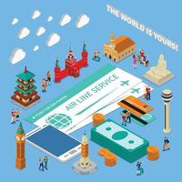 Traveling People Isometric Composition Vector Illustration