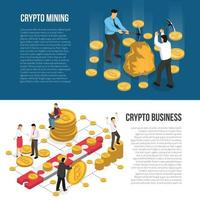 Cryptocurrency Mining Business Isometric Banners Vector Illustration