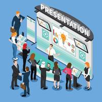 Presentation During Exhibition Isometric Composition Vector Illustration