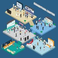 Multistory Exhibition Center Isometric Composition Vector Illustration