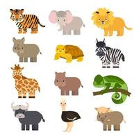 Set of simple vector cartoon isolated Savannah animals in flat style. Tiger, lion, rhinoceros, common warthog, African buffalo, tortoise, chameleon zebra ostrich, elephant, giraffe, hippo for children