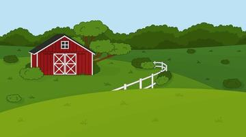 Vector outline cartoon summer spring green landscape with red barn