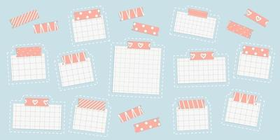 Vector grid square mockup piece of paper page with washi tape