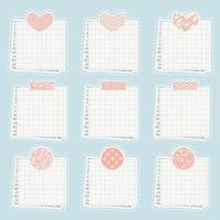 Vector cute paper notes stickers blank sticky notepaper posts