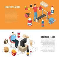 Banners isométricos de estilos de vida saludables y no saludables ilustración vectorial vector