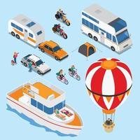 Traveling People Isometric Set Vector Illustration