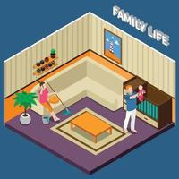 Family Life Isometric Composition Vector Illustration
