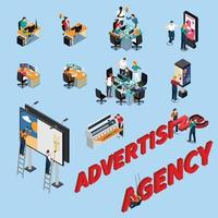 Advertising Agency Isometric People Vector Illustration