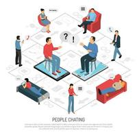 People Chatting Isometric Flowchart Poster Vector Illustration