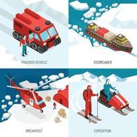 Ilustración de vector de concepto isométrico de la estación polar ártica