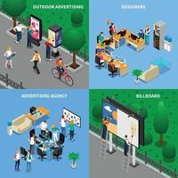 Ilustración de vector de concepto isométrico de agencia de publicidad