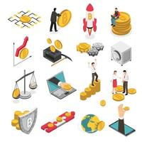Cryptocurrency Isometric Icons Set Vector Illustration