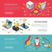 Bitcoin Rate Safety Isometric Banners Vector Illustration
