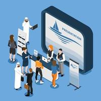 Exhibition Stand Isometric Composition Vector Illustration