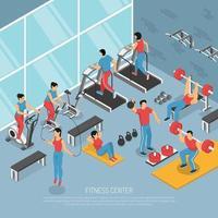 Ilustración de vector de cartel isométrico interior de gimnasio