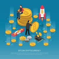 Bitcoin Cryptocurrency Technology Isometric Poster Vector Illustration