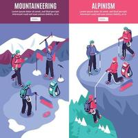 Mountain Tourism Vertical Banners Vector Illustration