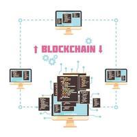 concepto de diseño de tecnología blockchain vector