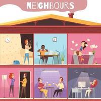 vecinos, irritación, ilustración, vector, ilustración vector