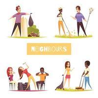 Ilustración de vector de concepto de diseño de vecinos 2x2