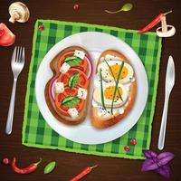 Sandwiches On Plate Rustic Illustration Vector Illustration