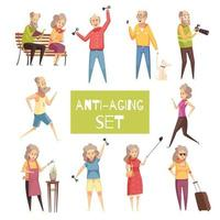 Anti Aging Icons Set vector