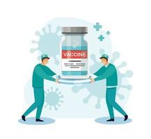 entrega de vacunas covid-19. concepto de salud de la medicina, ilustración vectorial vector