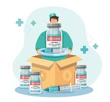 Man holds the vaccine box. delivery of covid-19 vaccines. Medicine healthcare concept, Vector illustration