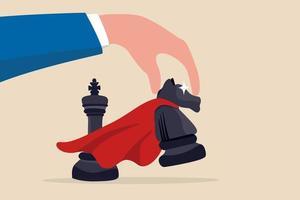 estrategia ganadora o movimiento de victoria en competencia empresarial, táctica de éxito o concepto de movimiento inteligente, mano de empresario estratégico sosteniendo una pieza de ajedrez de caballero de superpotencia para pasar al turno ganador. vector
