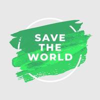 salvar el mundo ecología acuarela arte pincel pintar fondo abstracto. vector