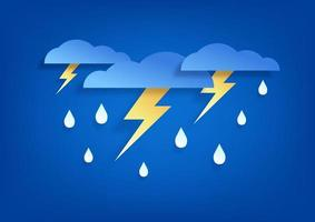 Sky and lightning in the rainy season. Paper art cloud and rain on blue background. vector