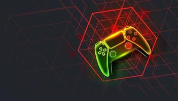 Neon game controller or joystick for game console on dark background. vector
