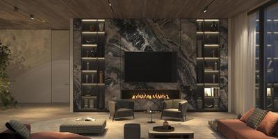 elegante salón abierto con chimenea foto