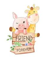 Cartoon Animal Friends with Wooden Sign Illustration vector