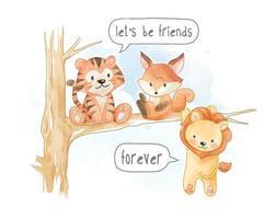 Little Cute Animal Friends on Tree Branch Illustration vector