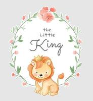 Cute Little king in Floral Frame Illustration vector
