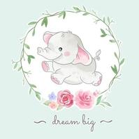 Cute Little Elephant Jumping in Floral Frame Illustration vector