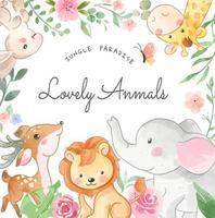 Ilustración de animales encantadores y flores de colores en marco cuadrado vector
