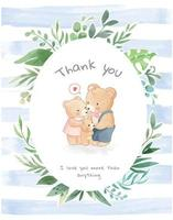 Lovely Bear Family in Leaf Frame and Blue Stripe Background vector