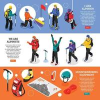 Mountaineering Horizontal Banners Vector Illustration