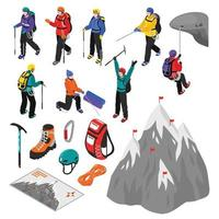 Mountaineering Isometric Set Vector Illustration