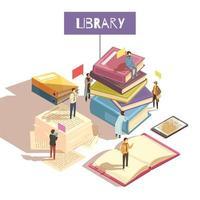 Ilustración de vector de ilustración isométrica de biblioteca