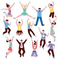 Young People Jumping Collection Vector Illustration